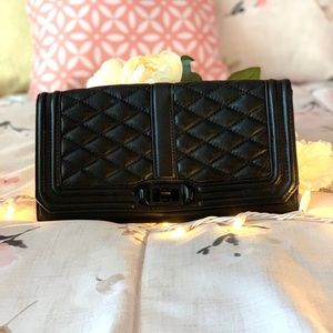 Rebecca Minkoff -Love Quilted Leather Clutch Black